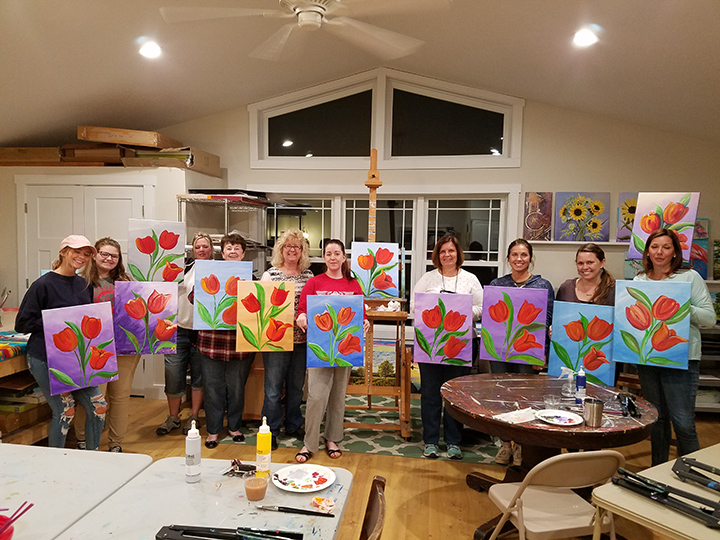 Tulip Paint & Sip class with finished paintings